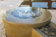 Bomanite Integral Color was paired here with a smooth trowel finish to create this decorative concrete fountain outside of the Clovis Community Medical Center and the peaceful environment is perfect to remind patients and visitors that every moment matters.