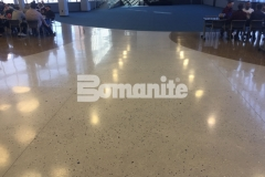 The Bomanite Modena Custom Polishing System was used here to create these stunning decorative concrete floors that were poured in place with a free-flowing design to add a natural look and a lustrous finish that is durable and easy to maintain.