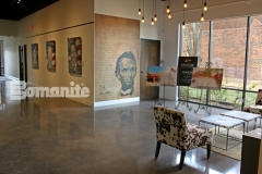 Featured here is Bomanite Patene Teres custom polished concrete that was installed here to provide a highly durable flooring surface that adds an extra element of warmth and elegance to this gallery space.
