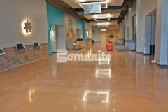 Featured here is Bomanite Patene Teres custom polished concrete that was installed here to create a flooring surface that is extremely durable with distinctive design detail that adds beautiful depth and warmth to this space.