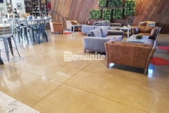 These stunning Bomanite Patene Teres decorative concrete floors were beautifully designed and executed to complement the contemporary aesthetic inside the Northside Christian School and Frappe House at CrossCity Christian Church.