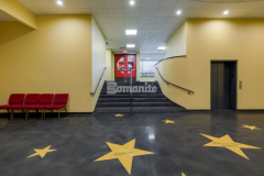 The essence of the Hollywood walk of fame was created in the main lobby of Jaffrey, New Hampshire's Park Theatre with Premier Concrete Construction's installation of this lustrous, Raven Black Bomanite Renaissance polished concrete flooring, which provided the perfect backdrop for the gold stars that were created using the Bomanite Modena TG Custom Polishing System.