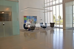 The installation process for this Bomanite VitraFlor custom polished concrete flooring consisted of grinding, chemical hardening with Bomanite Stabilizer Pro, and honing and polishing with Bomanite VitraFinish, which resulted in this durable, low maintenance, sustainable decorative concrete.