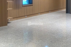 The exhibit hall at the Dallas Holocaust and Human Rights Museum features a custom polished concrete flooring surface with beautiful salt and pepper aggregate exposure and was created with the Bomanite VitraFlor Custom Polishing System, which was selected because of its sustainable design and LEED attributes, as well as the ability to provide an industrial modern design aesthetic.