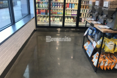 The Bomanite VitraFlor Custom Polishing System utilizes select un-colored concrete that is placed and finished to standards required for decorative polished concrete flooring and is an ideal choice to provide flooring for grocery stores like Brothers Marketplace because it is extremely durable, requires little maintenance, and creates a custom polished surface that is functional and stylish.
