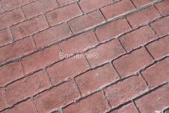 Bomanite Imprint Concrete looks like realistic brick using Bomacron Running Bond Used Brick pattern at Anderson University Decker Hall in Anderson, Indiana.