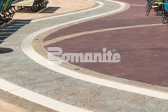Showcased here is a stunning stamped concrete hardscape that was created using Bomanite Imprint Systems to add beautiful contrast and dimensional detail throughout this water park.