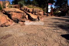 Bomanite imprinted concrete was installed here with the Bomacron Garden Stone pattern and natural English Slate texture to replicate desert rock riverbed landscape, adding a distinct, decorative touch to the Chihuahuan Desert exhibit at the El Paso Zoo.