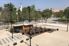 """Bomanite Bomacron imprinted concrete was expertly installed here by our associate, Bomel Construction Company, using the 11.5"""" Boardwalk pattern to add contrast and detail to the Northwest Plaza entrance at LAFC Stadium."""