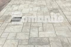 Bomanite imprinted concrete was installed here by Connecticut Bomanite Systems using the Bomacron Ashlar Slate pattern to create a durable and distinctively decorative surface that earned them the 2018 Bomanite Imprint Systems Bronze Award.
