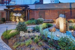Bomanite Bomacron is featured here in both Small Sandstone and Regular Slate patterns and these stamped concrete walkways meander through the healing garden that was created outside of CMC Mercy Hospital to help aid healing of body and spirit for patients, visitors, and staff.