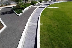 A splash pad and water feature were created here by our colleague Bomanite of Tulsa using Bomanite Imprint Systems and the Bomacron Chipped Shale pattern, which was the perfect choice to mimic the look of river rock and add beautiful detail to the hardscape surfaces at Owasso's Redbud Festival Park.