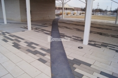 Bomanite Sandstone imprinted concrete was installed here as an accent to the adjacent concrete pavers and was the perfect choice to create definition in the pavilion area and provide a design feature that is complementary to the design aesthetic at Redbud Festival Park in Owasso, Oklahoma.
