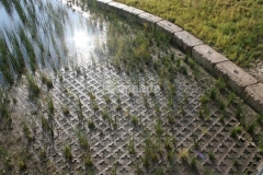This Grasscrete system by Bomanite was installed here to create a partially concealed pervious pavement system that was integrally colored in order to blend in with the natural surroundings.