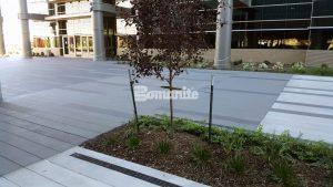 Bomanite Sandscape Texture at Garmin Expansion Pedestrian Plaza in Olathe, KS is a pleasure to walk on.
