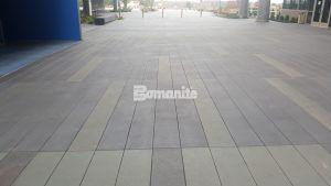 Bomanite Sandscape Texture decorative concrete catches the visitors eye at Garmin Expansion Pedestrian Plaza in Olathe, KS.