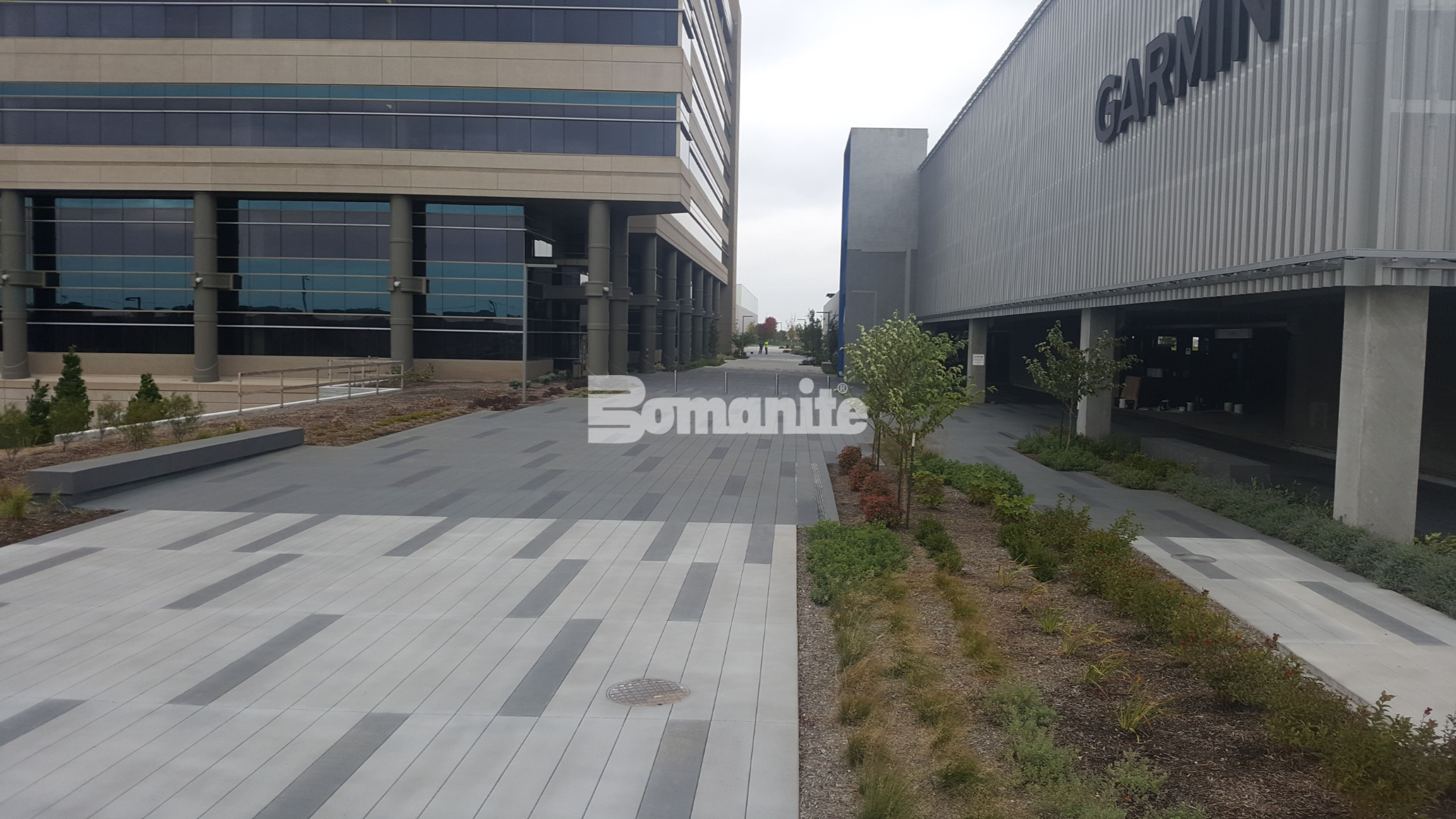 Bomanite Sandscape Texture at Garmin Expansion Pedestria Plaza in Olathe, KS