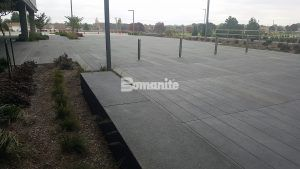 Garmin Expansion Pedestrian Plaza in Olathe, KS features Bomanite Sandscape Texture for a beautiful expanse of decorative concrete.