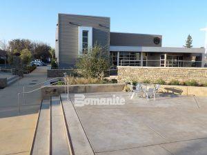 A multi-purpose decorative concrete plaza using Bomanite Exposed Aggregate Systems with Bomanite Sandscape Refined Antico and Bomanite Sandscape Texture at CrossCity Church, formerly known as Northside Church, in Fresno, CA.