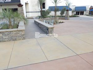A multi-purpose decorative concrete plaza using Bomanite Exposed Aggregate Systems with Bomanite Sandscape Refined Texture and Bomanite Sandscape Antico at CrossCity Church, formerly known as Northside Church, in Fresno, CA creates the flow an versitility required for this project.
