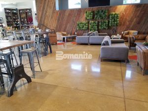 The Frappe House handcrafted coffee house using decorative concrete Bomanite Custom Polishing Systems with Bomanite Patene Teres at CrossCity Church, formerly known as Northside Church, in Fresno, CA.