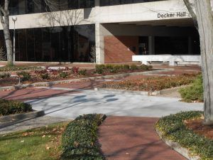 Anderson University Decker Hall Plaza renovation using Bomanite Imprint Bomacron Running Bond Used Brick pattern in Anderson, Indiana.