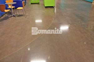 Two custom dye colors are featured in this decorative concrete flooring with Bomanite Custom Poslingh Systems using Bomanite Patene Teres installed by Texas Bomanite at Hope Fellowship Bible Church.