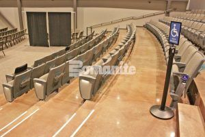 An unforgettable gorgeous stadium seating decorative concrete area was created with Bomanite Custom Poslingh Systems using Bomanite Patene Teres decorative concrete installed by Texas Bomanite at Hope Fellowship Bible Church.