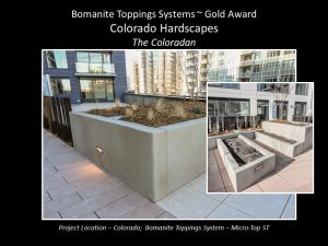 Bomanite Licensee Colorado Hardscapes received the 2018 Gold Award for the Best Toppings Project for their installation of decorative concrete at the Coloradan.