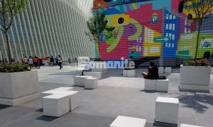 View of seating at the World Trade center with Bomanite Exposed Aggregate usind Bomanite Alloy decorative concrete in the award winning street design.