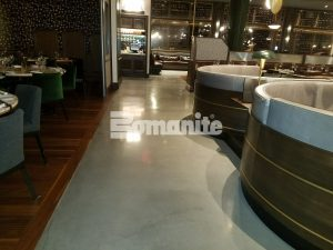Long view of the stunning flooring at Angeline by Michael Symon located in the Borgata Hotel Casino and Spa in Atlantic City using Bomanite Decorative Concrete Bomanite Modena SL Custom Polished Concrete Floors installed by Beyond Concrete from Keyport, NJ for a Hi-End Iron Chef Restaurant.