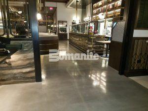 Wraparound view of Bomanite Decorative Concrete Bomanite Modena SL Custom Polished Concrete Floors installed at Angeline by Michael Symon restaurant located in the Borgata Hotel Casino and Spa in Atlantic City.