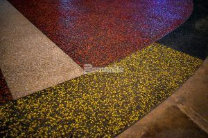 A variety of Bomanite Decorative Concrete Systems with a dramatic pallette of colors at the Choctaw Cultural Center in Durant, OK, installed by Bomanite of Tulsa.