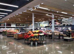 Grocery section wide view at Target East Lake in Minneapolis, MN, decorative concrete flooring using Bomanite Custom Polishing Systems with Bomanite Patene Teres installed by Bomanite Licensee Concrete Arts.